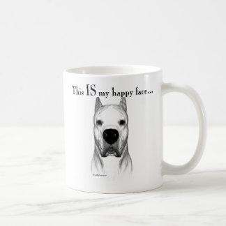 Dogo Argentino Happy Face Classic White Coffee Mug