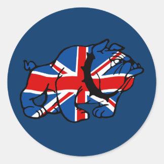 Dogo de Union Jack Etiquetas Redondas
