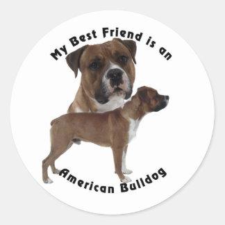 Dogo del americano del mejor amigo pegatina redonda