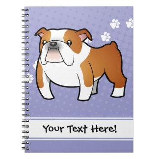 Dogo del dibujo animado libro de apuntes con espiral