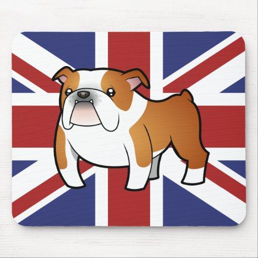Dogo del inglés del dibujo animado de Union Jack Alfombrilla De Ratón