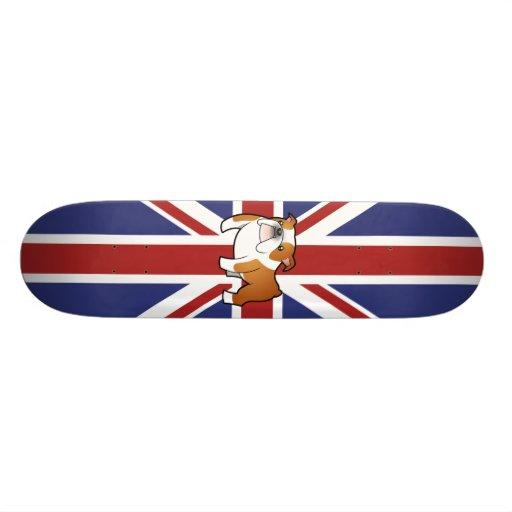 Dogo del inglés del dibujo animado de Union Jack Monopatin