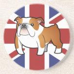 Dogo del inglés del dibujo animado de Union Jack Posavasos Diseño