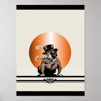 Dogo del vintage del perro superior con el cigarro póster
