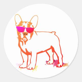 Dogo estupendo de Frenchie Pegatina Redonda