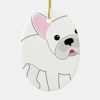 Dogo francés adorno ovalado de cerámica