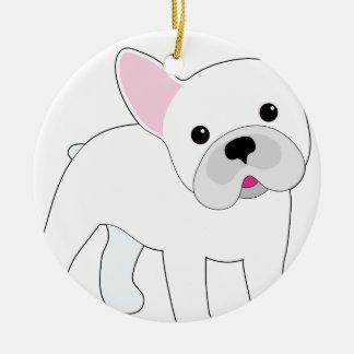 Dogo francés adorno redondo de cerámica
