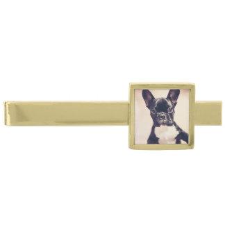 Dogo francés alfiler de corbata dorado