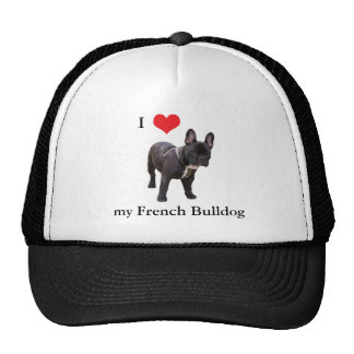 Dogo francés, amo el corazón, casquillo, gorra, id