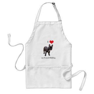 Dogo francés, amo el corazón, delantal, idea del r delantal