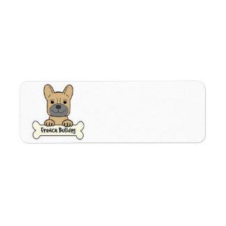 Dogo francés animado etiqueta de remitente