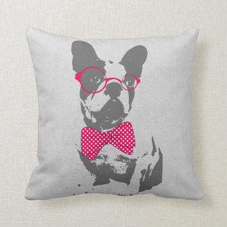 Dogo francés animal del vintage de moda divertido cojín decorativo