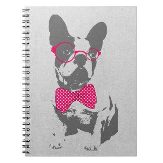 Dogo francés animal del vintage de moda divertido  libros de apuntes