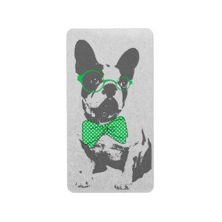 Dogo francés animal del vintage de moda divertido etiquetas de dirección