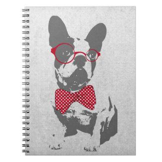 Dogo francés animal del vintage de moda divertido  libros de apuntes con espiral