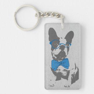 Dogo francés animal del vintage de moda divertido llavero rectangular acrílico a doble cara