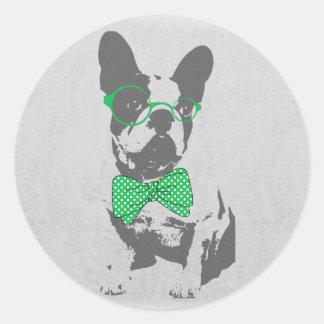 Dogo francés animal del vintage de moda divertido pegatina redonda