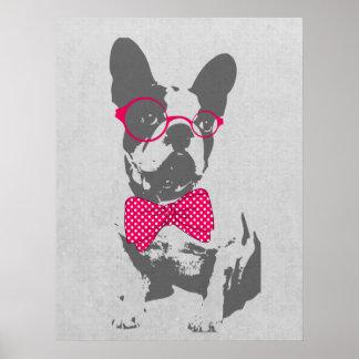Dogo francés animal del vintage de moda divertido  póster