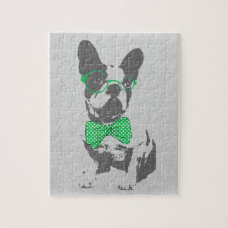 Dogo francés animal del vintage de moda divertido  puzzle
