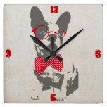 Dogo francés animal del vintage de moda divertido  reloj