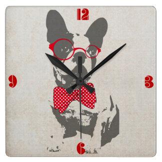 Dogo francés animal del vintage de moda divertido  reloj cuadrado