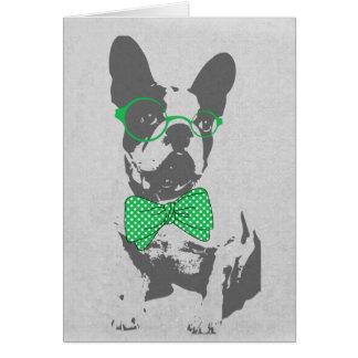 Dogo francés animal del vintage de moda divertido  felicitaciones
