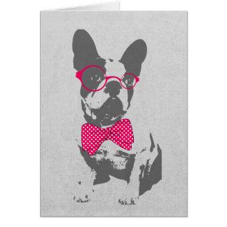 Dogo francés animal del vintage de moda divertido tarjeta de felicitación