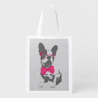 Dogo francés animal del vintage de moda divertido  bolsa de la compra