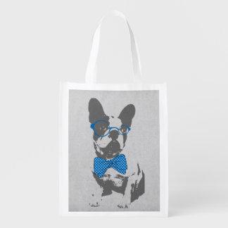 Dogo francés animal del vintage de moda divertido  bolsas de la compra