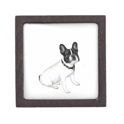 Dogo francés (blanco con negro) cajas de recuerdo de calidad