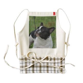 Dogo francés blanco y negro delantal zazzle HEART