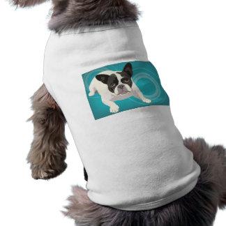 Dogo francés blanco y negro lindo en la parte post playera sin mangas para perro