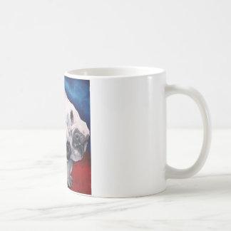 Dogo francés, blanco y negro taza básica blanca