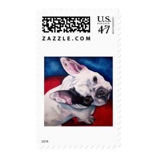 Dogo francés, blanco y negro timbres postales