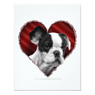 """Dogo francés con el corazón invitación 4.25"""" x 5.5"""""""
