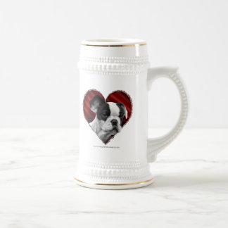 Dogo francés con el corazón tazas de café