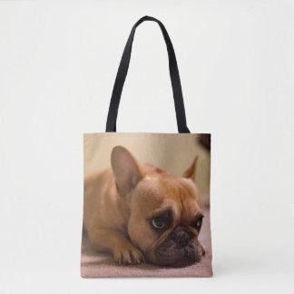 Dogo francés con la cara inocente bolsa de tela