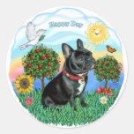 Dogo francés (cuello negro-rojo) etiqueta redonda