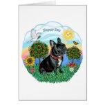 Dogo francés (cuello negro-rojo) felicitaciones
