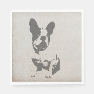 dogo francés de la impresión en textura del servilleta de papel