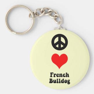 Dogo francés del amor de la paz llavero personalizado