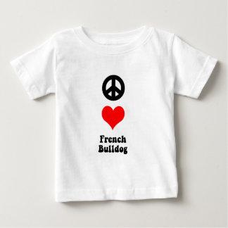 Dogo francés del amor de la paz playera para bebé