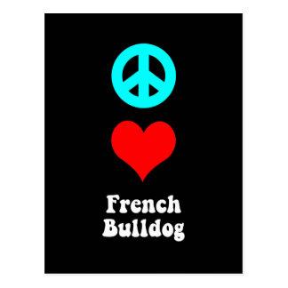 Dogo francés del amor de la paz postales