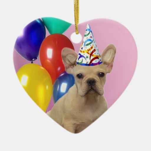 Dogo francés del cumpleaños adornos