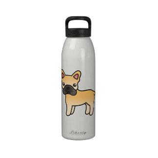 Dogo francés del dibujo animado del cervatillo botella de agua reutilizable
