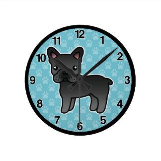 Dogo francés del dibujo animado negro relojes