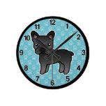 Dogo francés del dibujo animado negro reloj redondo mediano