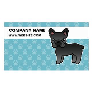 Dogo francés del dibujo animado negro tarjetas de visita