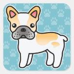 Dogo francés del dibujo animado picazo del calcomanías cuadradas personalizadas