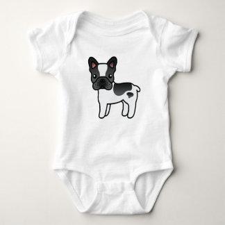 Dogo francés del dibujo animado picazo negro body para bebé